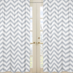 Gray and White Chevron Window Treatment Zig Zag Panels - Set of 2