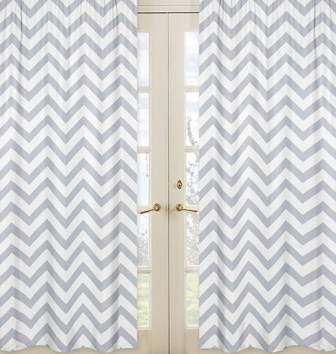 Gray and White Chevron Window Treatment Zig Zag Panels - Set of 2 - Click to enlarge