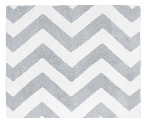 Gray and White Chevron Zig Zag Accent Floor Rug by Sweet Jojo Designs - Click to enlarge
