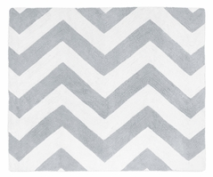 Gray and White Chevron Zig Zag Accent Floor Rug by Sweet Jojo Designs