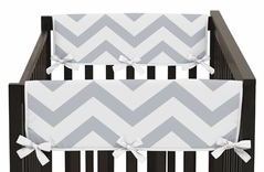 Gray and White Chevron Zig Zag Baby Crib Side Rail Guard Covers by Sweet Jojo Designs - Set of 2