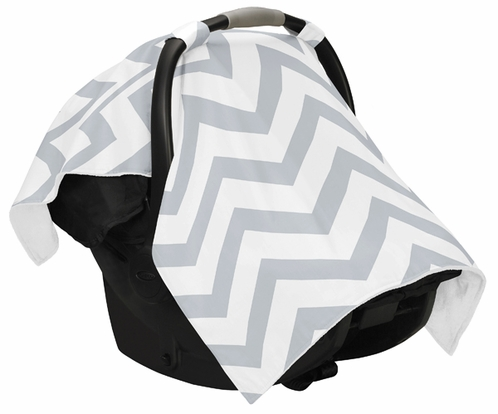 Gray and White Chevron Zig Zag Baby Infant Car Seat Carrier Stroller Cover by Sweet Jojo Designs - Click to enlarge