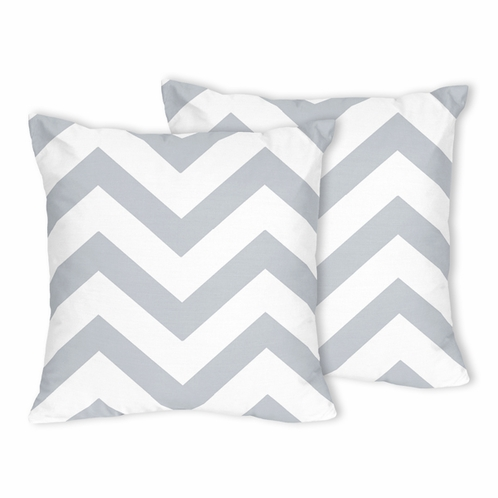 Gray and White Chevron Zig Zag Decorative Accent Throw Pillows - Set of 2 - Click to enlarge
