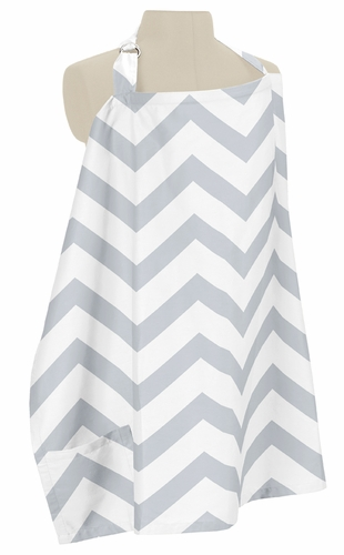 Gray and White Chevron Zig Zag Infant Baby Breastfeeding Nursing Cover Up Apron by Sweet Jojo Designs - Click to enlarge