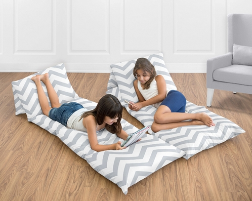 Gray and White Chevron Zig Zag Kids Teen Floor Pillow Case Lounger Cushion Cover by Sweet Jojo Designs - Click to enlarge