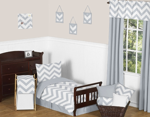 Gray and White Chevron Toddler Bedding - 5pc Set by Sweet Jojo Designs - Click to enlarge