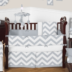 Gray And White Chevron Zigzag Baby Bedding 9pc Crib Set By Sweet Jojo Designs