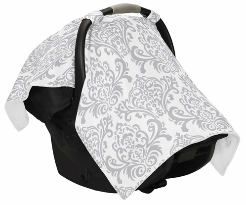 Gray and White Damask Baby Infant Car Seat Carrier Stroller Cover by Sweet Jojo Designs - Click to enlarge