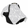Gray and White Damask Baby Infant Car Seat Carrier Stroller Cover by Sweet Jojo Designs