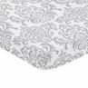 Gray and White Damask Baby or Toddler Fitted Mini Portable Crib Sheet for Elizabeth Collection by Sweet Jojo Designs