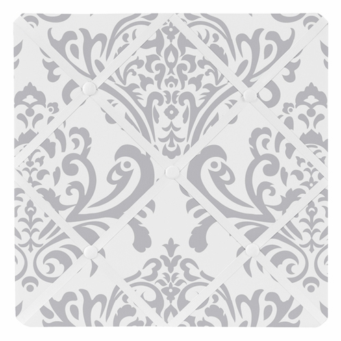Gray and White Damask Fabric Memory/Memo Photo Bulletin Board by Sweet Jojo Designs - Click to enlarge