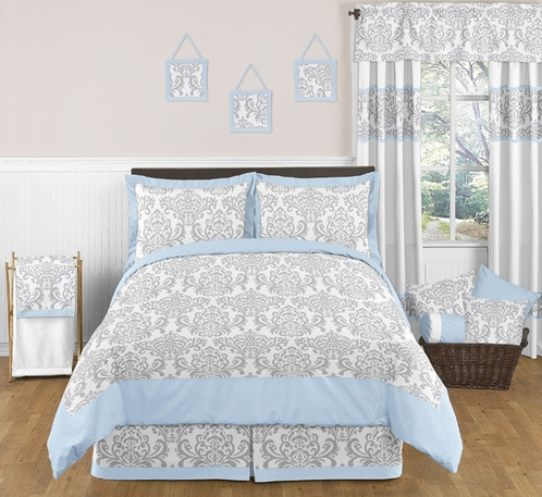 Blue and Gray Avery Childrens and Kids Bedding - 3pc Full / Queen Set by Sweet Jojo Designs - Click to enlarge