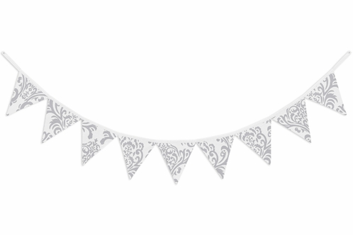 Gray and White Damask Fabric Pennant Flag Banner Bunting Nursery Baby Wall Décor - Click to enlarge