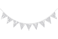 Gray and White Damask Fabric Pennant Flag Banner Bunting Nursery Baby Wall D�cor