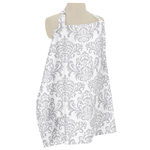 Gray and White Damask Infant Baby Breastfeeding Nursing Cover Up Apron by Sweet Jojo Designs