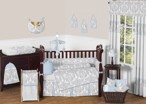 Blue and Gray Avery Baby Bedding - 9pc Crib Set by Sweet Jojo Designs - Click to enlarge