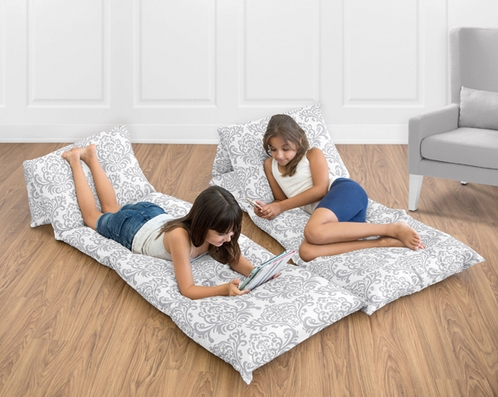 Gray and White Damask Kids Teen Floor Pillow Case Lounger Cushion Cover by Sweet Jojo Designs - Click to enlarge