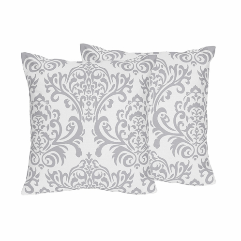 Gray and White Damask Skylar Decorative Accent Throw Pillows - Set of 2 - Click to enlarge