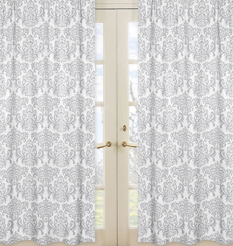 Gray and White Damask Window Treatment Panels for Skylar Collection - Set of 2 - Click to enlarge