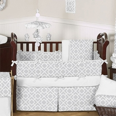 Gray and White Diamond Baby Bedding - 9pc Crib Set by Sweet Jojo Designs