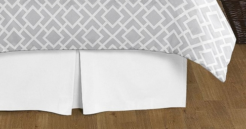 Gray And White Diamond Collection Bed Skirt Solid White King