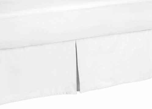 Gray and White Diamond Collection Bed Skirt - Solid White - Queen Size - Click to enlarge