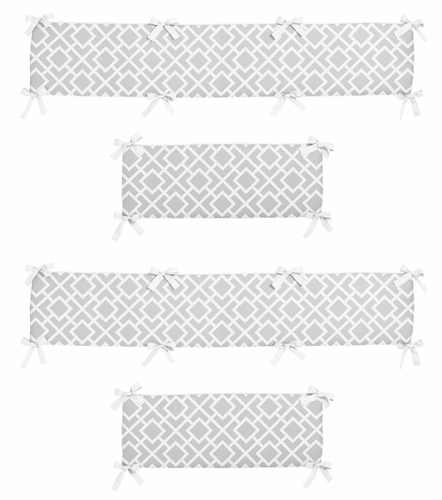 Gray and White Diamond Collection Crib Bumper by Sweet Jojo Designs - Click to enlarge