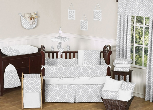 Gray and White Diamond Baby Bedding - 9pc Crib Set by Sweet Jojo Designs - Click to enlarge
