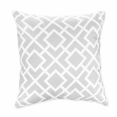 Gray and White Diamond Decorative Accent Throw Pillow by Sweet Jojo Designs - Click to enlarge