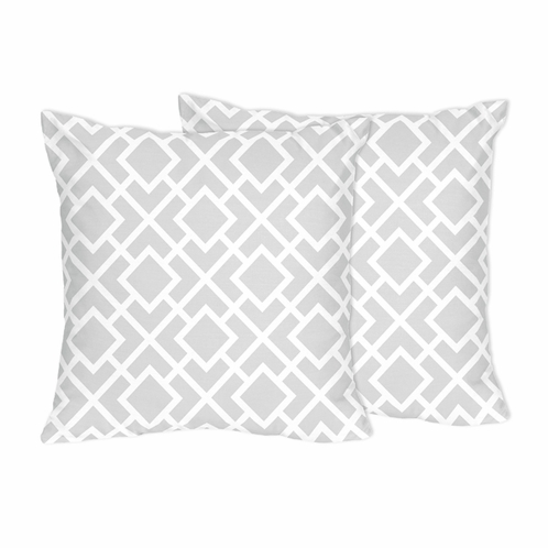 Gray and White Diamond Decorative Accent Throw Pillows by Sweet Jojo Designs - Set of 2 - Click to enlarge