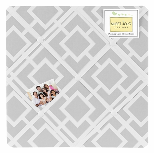 Gray and White Diamond Fabric Memory/Memo Photo Bulletin Board by Sweet Jojo Designs - Click to enlarge
