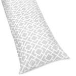 Gray and White Diamond Full Length Double Zippered Body Pillow Case Cover by Sweet Jojo Designs