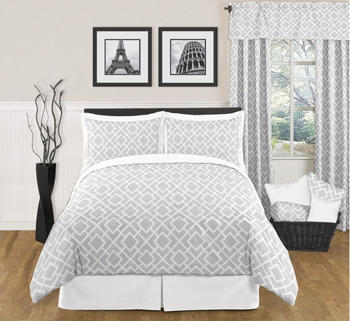 gray and white diamond modern contemporary full queen 3pc bedding set only. Black Bedroom Furniture Sets. Home Design Ideas