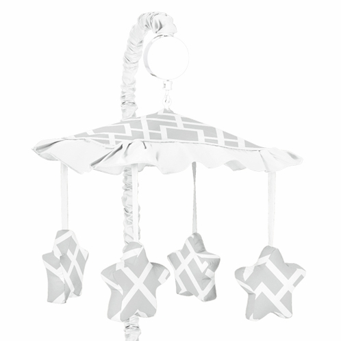 Gray and White Diamond Musical Baby Crib Mobile by Sweet Jojo Designs - Click to enlarge