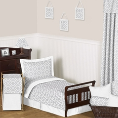 Gray and White Diamond Toddler Bedding - 5pc Set by Sweet Jojo Designs