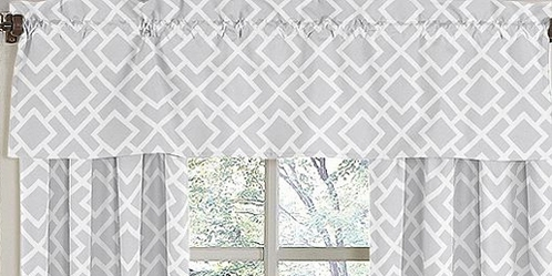 Gray and White Diamond Window Valance by Sweet Jojo Designs - Click to enlarge