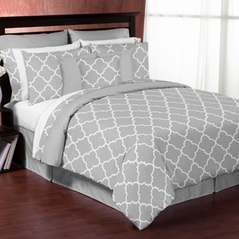 Gray and White Trellis 3pc Bed in a Bag King Bedding Set by Sweet Jojo Designs