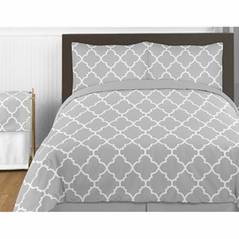 Gray and White Trellis 4pc Childrens and Kids Twin Bedding Set by Sweet Jojo Designs