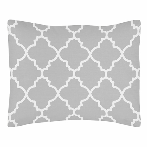 Gray and White Trellis Pillow Sham by Sweet Jojo Designs - Click to enlarge
