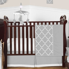 Gray and White Trellis Baby Bedding - 11pc Crib Set by Sweet Jojo Designs