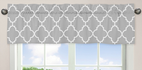 Gray and White Trellis�Collection Window Valance by Sweet Jojo Designs - Click to enlarge