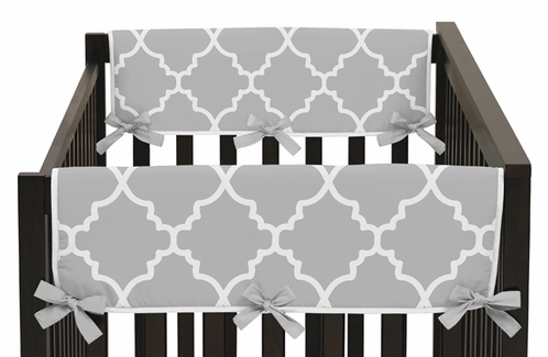 Gray and White Trellis Baby Crib Side Rail Guard Covers by Sweet Jojo Designs - Set of 2 - Click to enlarge