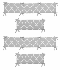 Gray and White Trellis Collection Crib Bumper by Sweet Jojo Designs