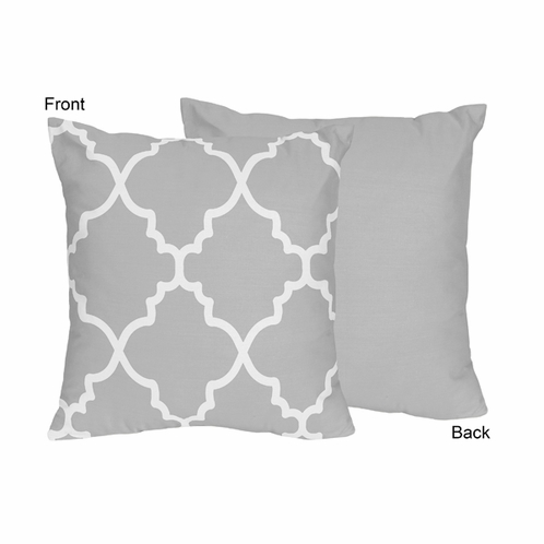 Gray and White Trellis Decorative Accent Throw Pillow by Sweet Jojo Designs - Click to enlarge