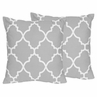 Gray and White Trellis Decorative Accent Throw Pillows - Set of 2