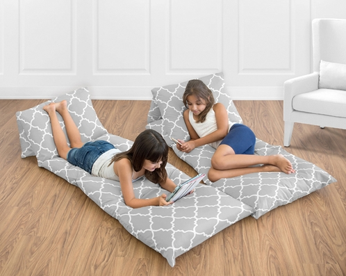 Gray and White Trellis Kids Teen Floor Pillow Case Lounger Cushion Cover by Sweet Jojo Designs - Click to enlarge