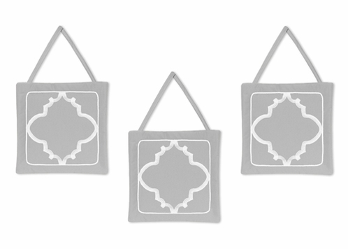 Gray and White Trellis Wall Hanging Accessories by Sweet Jojo Designs - Click to enlarge