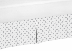 Gray and White Triangle Crib Bed Skirt for Earth Sky, Mod Arrow and Woodsy Baby Bedding Sets by Sweet Jojo Designs