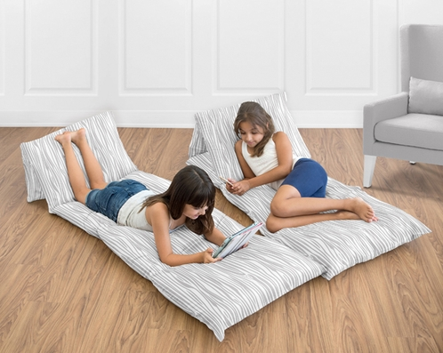 Gray and White Woodgrain Print Kids Teen Floor Pillow Case Lounger Cushion Cover by Sweet Jojo Designs - Click to enlarge