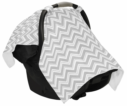 Gray and White Zig Zag Chevron Baby Infant Car Seat Carrier Stroller Cover by Sweet Jojo Designs - Click to enlarge